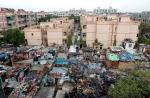 DDA flats next to a slum, New Delhi