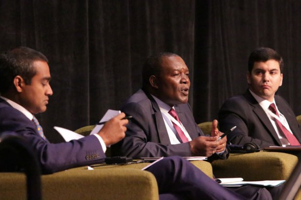 "Participants take part in the ""Digital Financial Services: Where are we Headed?"" panel at the 2014 GPF in Trinidad and Tobago."